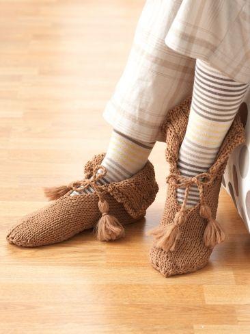Tassel Tied Slippers | Yarn | Free Knitting Patterns | Crochet Patterns | Yarnspirations