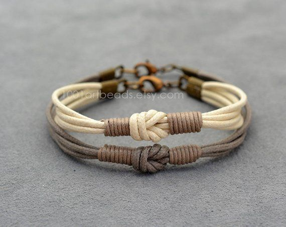 Couples Bracelet Love Knot Long distance Her His Bracelet Set Simple Everyday Matching his and hers bracelets boyfriend girlfriend gift #fondueideas