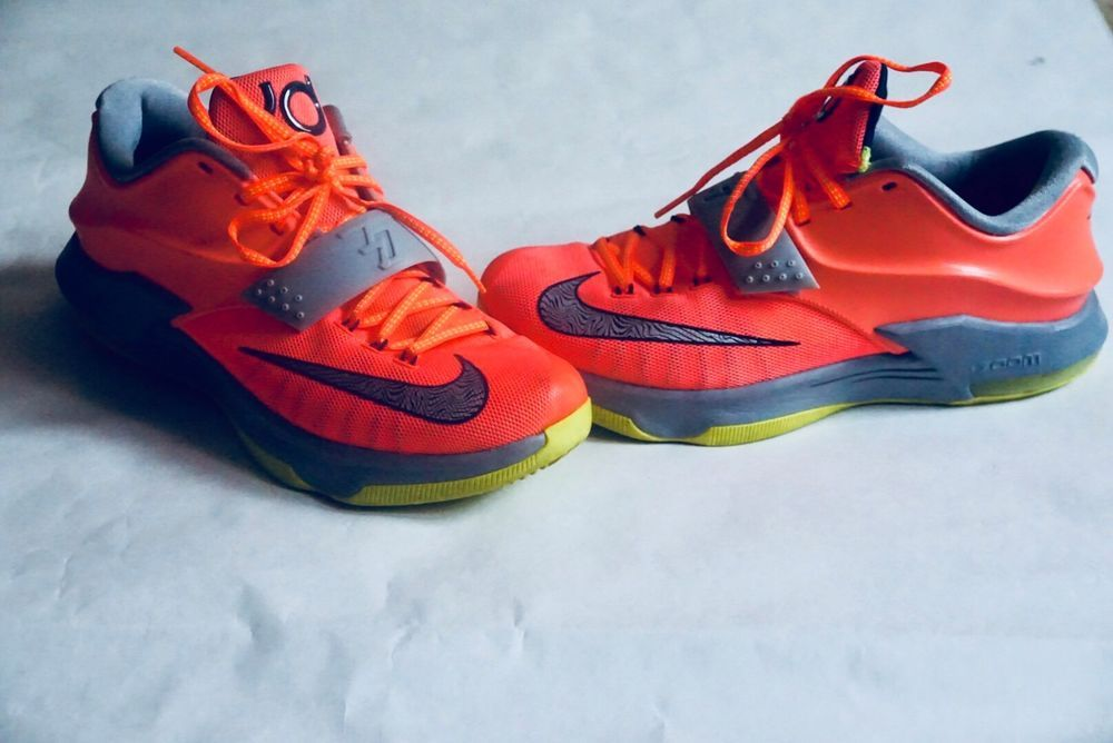 new concept a12d8 8d24b Details about Nike KD 7's, salmon, neon green and grey, size ...