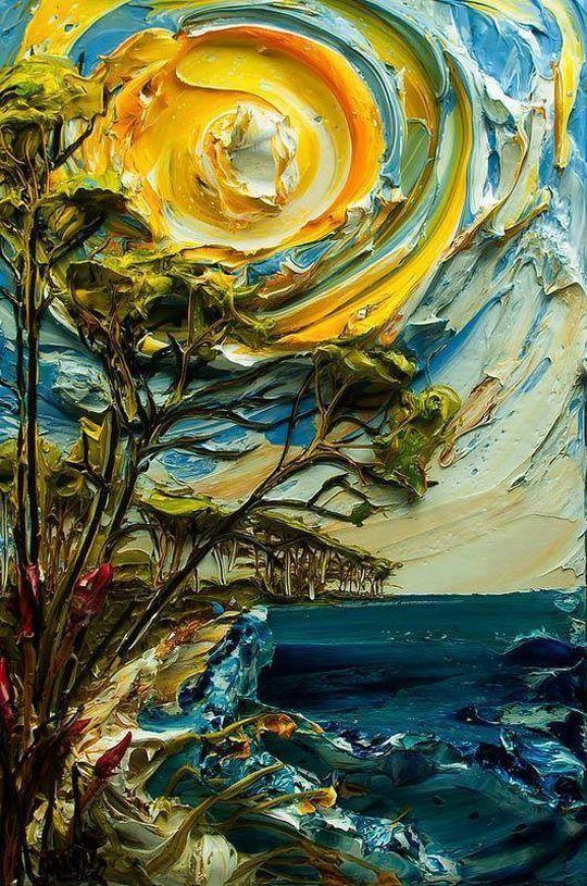 Paesaggio dipinti Moderni con spatola a olio di arte su
