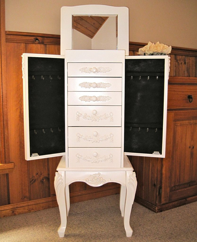 Shabby French Provincial Jewelry Armoire Chest Box Cream Vintage Storage Cabinet