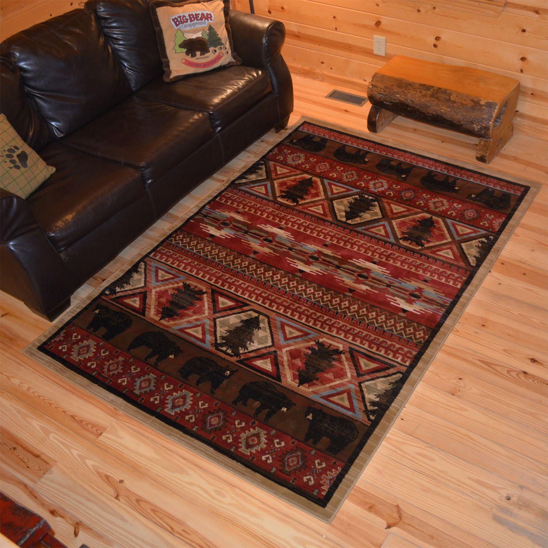 Rustic Lodge Bear Southwest Pine Cabin Multi Area Rug 5 3 X 7 5x8 Size Polypropylene Nature