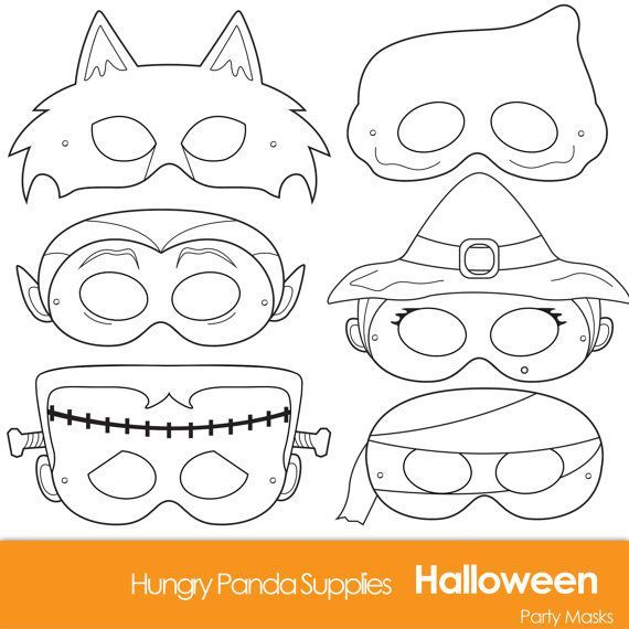 Halloween masks to print and color | Classroom halloween party ...