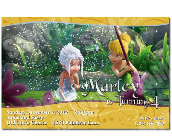 Tinkerbell and Periwinkle Invitation Printable Tinkerbell and – Tinkerbell Party Invitation Ideas