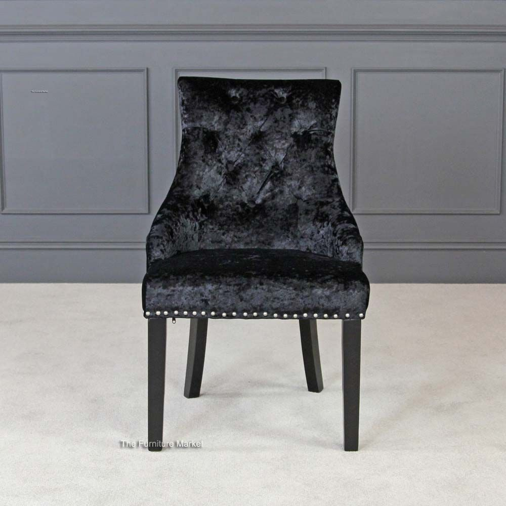 Luxury Black Velvet Scoop Back Dining Chair with Black Legs x 4 ...