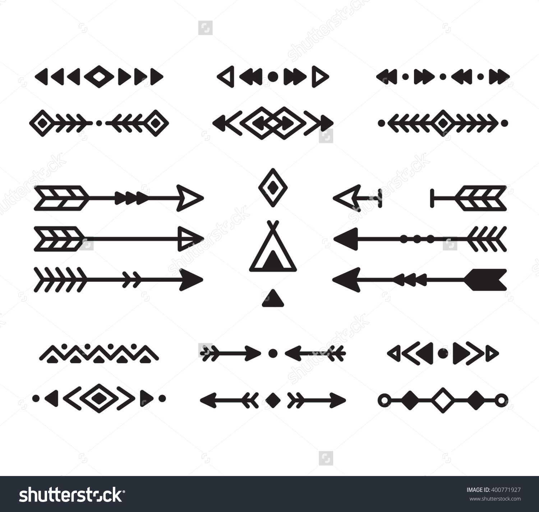 Native American Indian design elements set Borders arrows