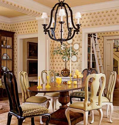 Wonderful Formal Dining Rooms · Patterned Wallpaper, Ladder For The Bookshelves,  Pocket Doors   2007 Southern Accents Showhouse