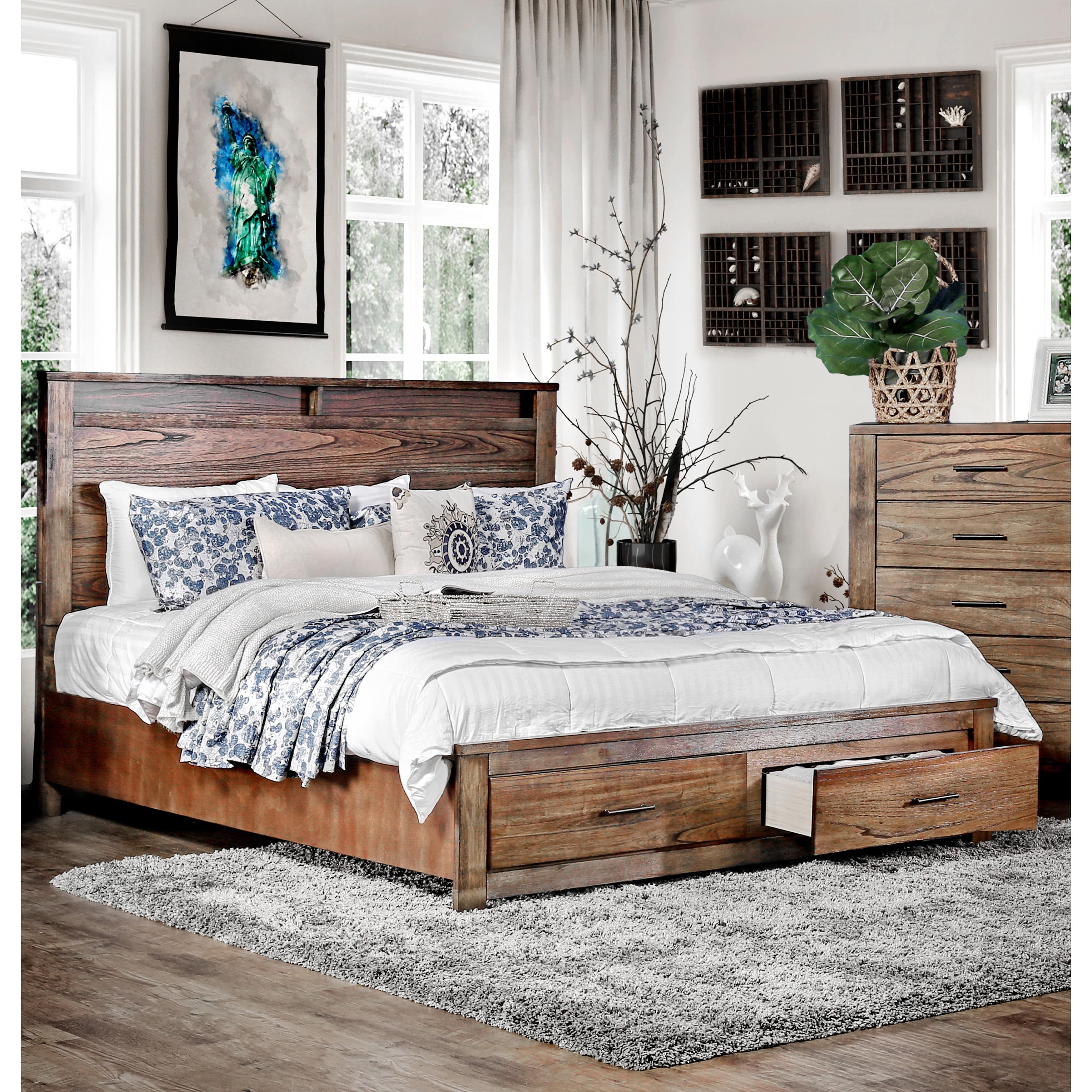 Furniture of America Casso Rustic Antique Oak Platform Storage Bed (Cal. King) & Furniture of America Casso Rustic Antique Oak Platform Storage Bed ...