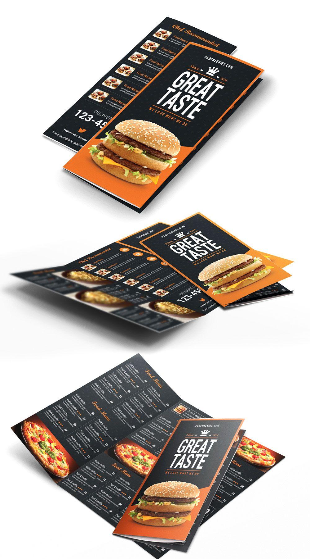 Fast Food Menu Trifold Brochure Free PSD | Asas, Restaurante y ...