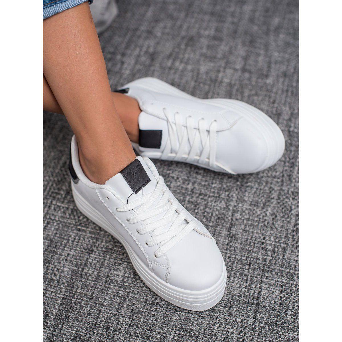 Shelovet Modne Buty Sportowe Biale Shoes White Sneaker Sneakers