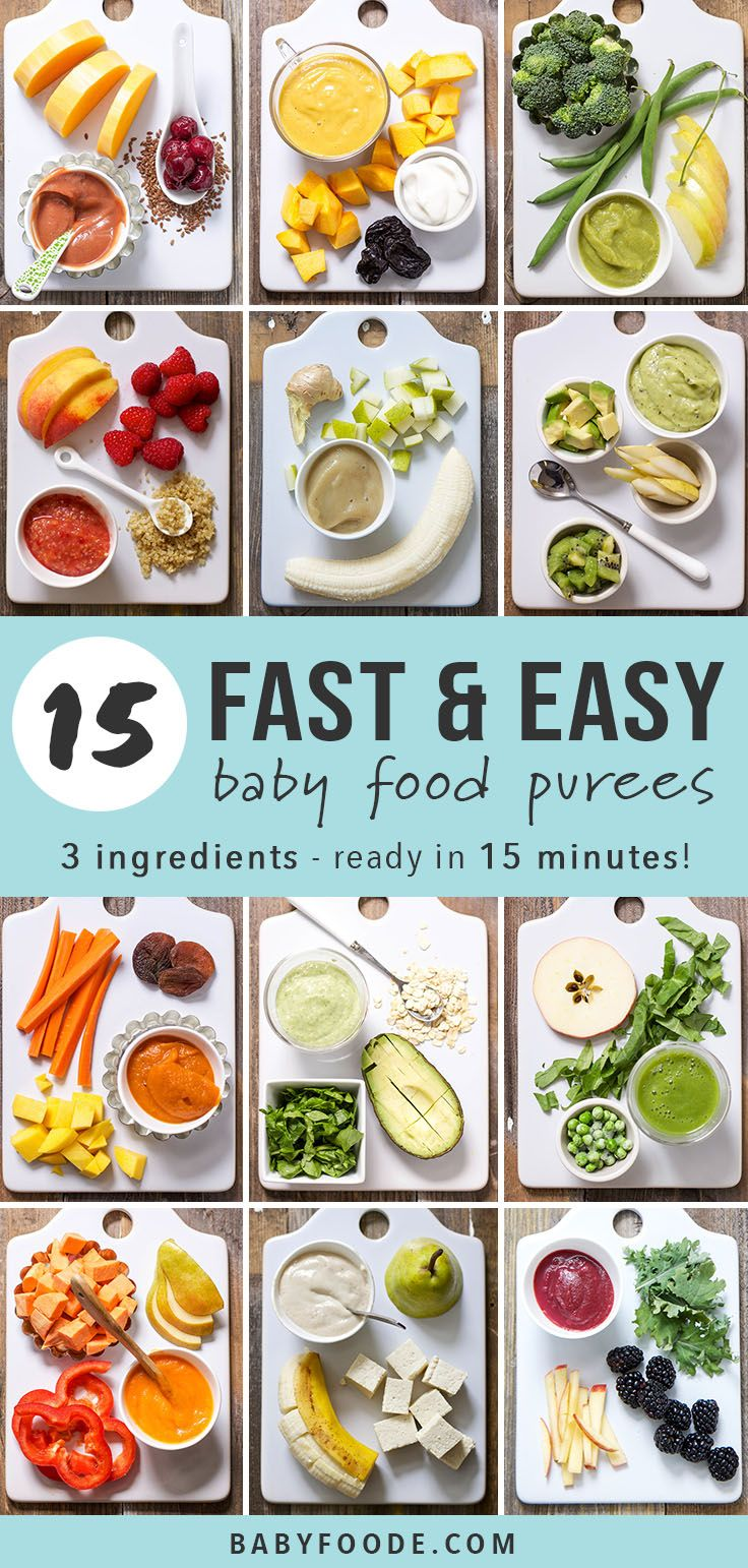 Do you want to learn how to make your own baby food purees but don't know where to start? Start here! These 15 homemade baby food purees each have just three ingredients and can be made in under 15 minutes. These easy homemade purees are quick, healthy, nutritious, and most of all delicious! #babyfood #baby