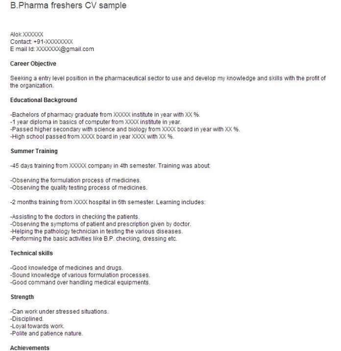 B Pharmacy Resume Format For Freshers 2-Resume Format Resume