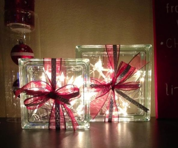 Glass blocks filled with christmas lights wrapped with for Glass block alternatives