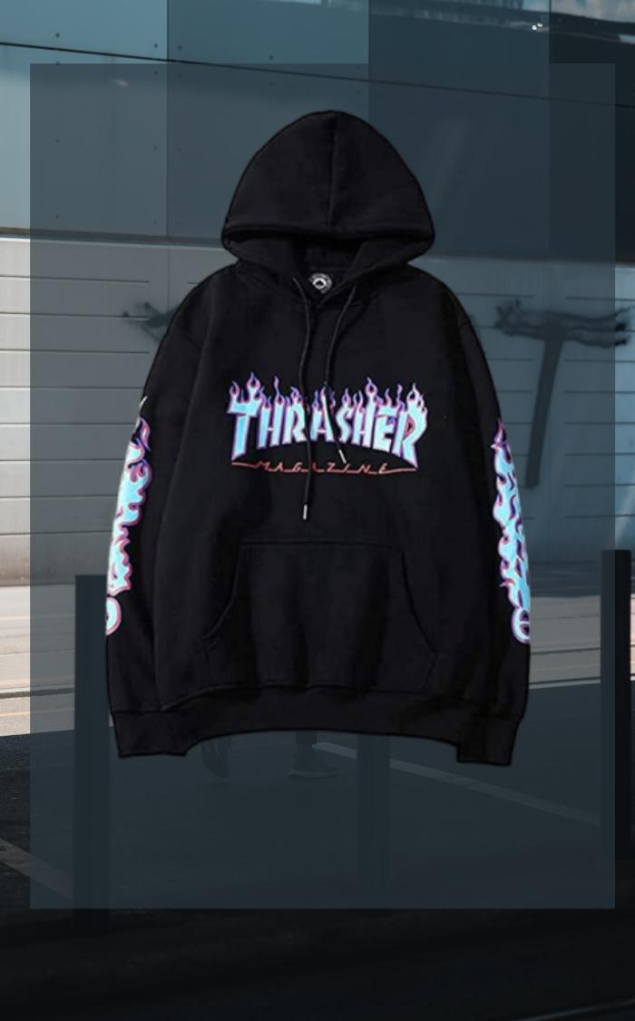 Honios Fashion Hoodie Flame Print Unisex Sweatshirts For Men Women Black X Large Hoodie Fashion Thrasher Hoodie Fashion [ 1125 x 700 Pixel ]