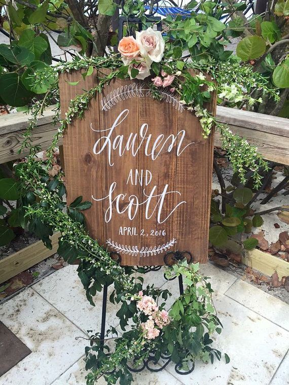 Personalized Wedding Welcome Sign, Wooden Wedding Sign, Rustic ...