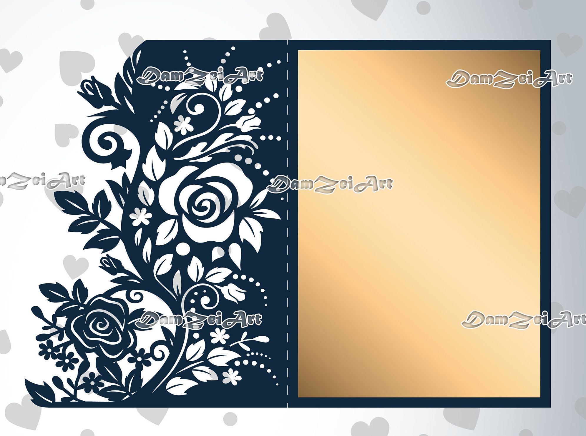 5x7\'\' Roses Wedding Invitation Card laser Cut Template roses lace ...
