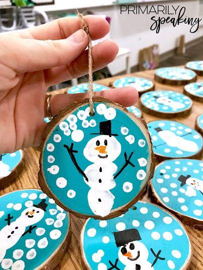 Photo of Wood Slice Snowman Ornaments {Tutorial}