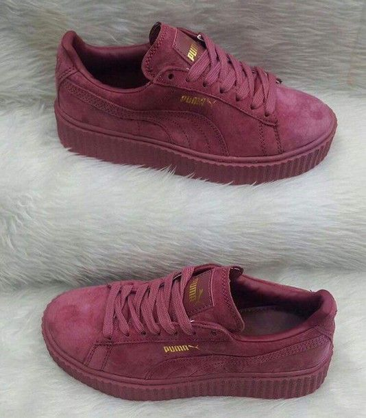 Shoes: burgundy, puma, creepers, burgundy shoes, puma