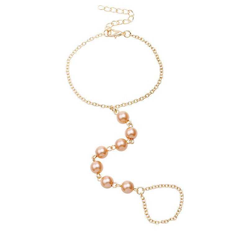 pulseira jewelry imitation pearls chain linked bracelet elegant pulseira jewelry imitation pearls chain linked bracelet elegant finger loop women s wire harness hand