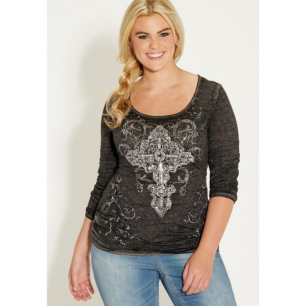3b251833a7 maurices Plus Size Burnout Tee With Premium Cross Graphic ( 36) ❤ liked on  Polyvore featuring tops