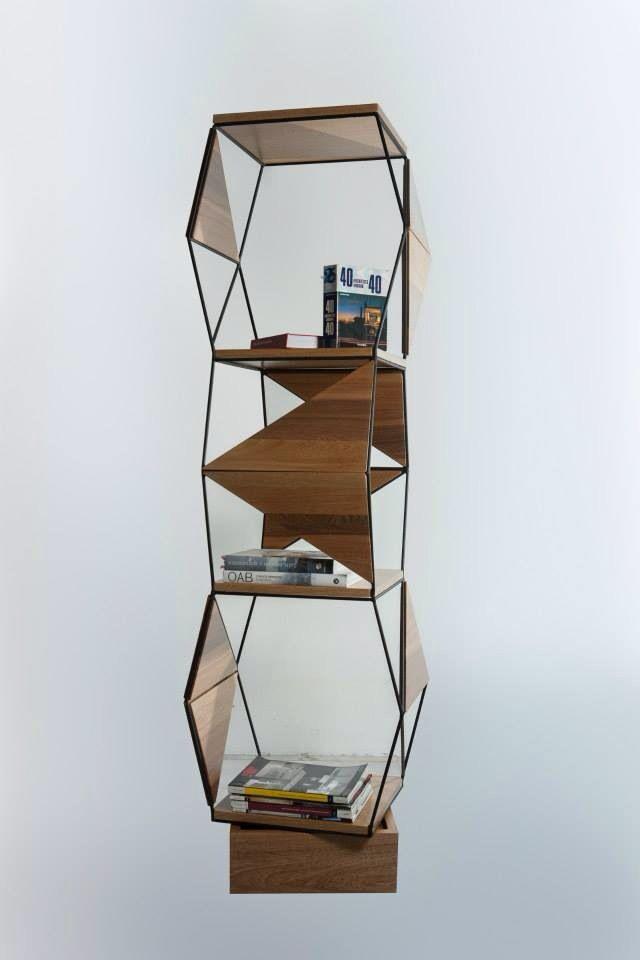 Librero con estructura varilla de acero y cuerpo de madera - Varillas de madera ...