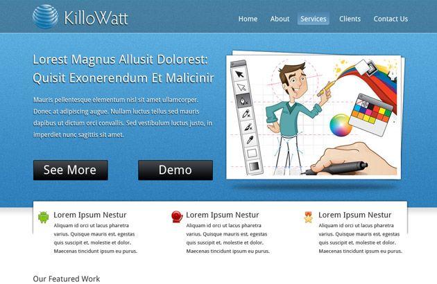 killowatt free website psd template psd style free photoshop