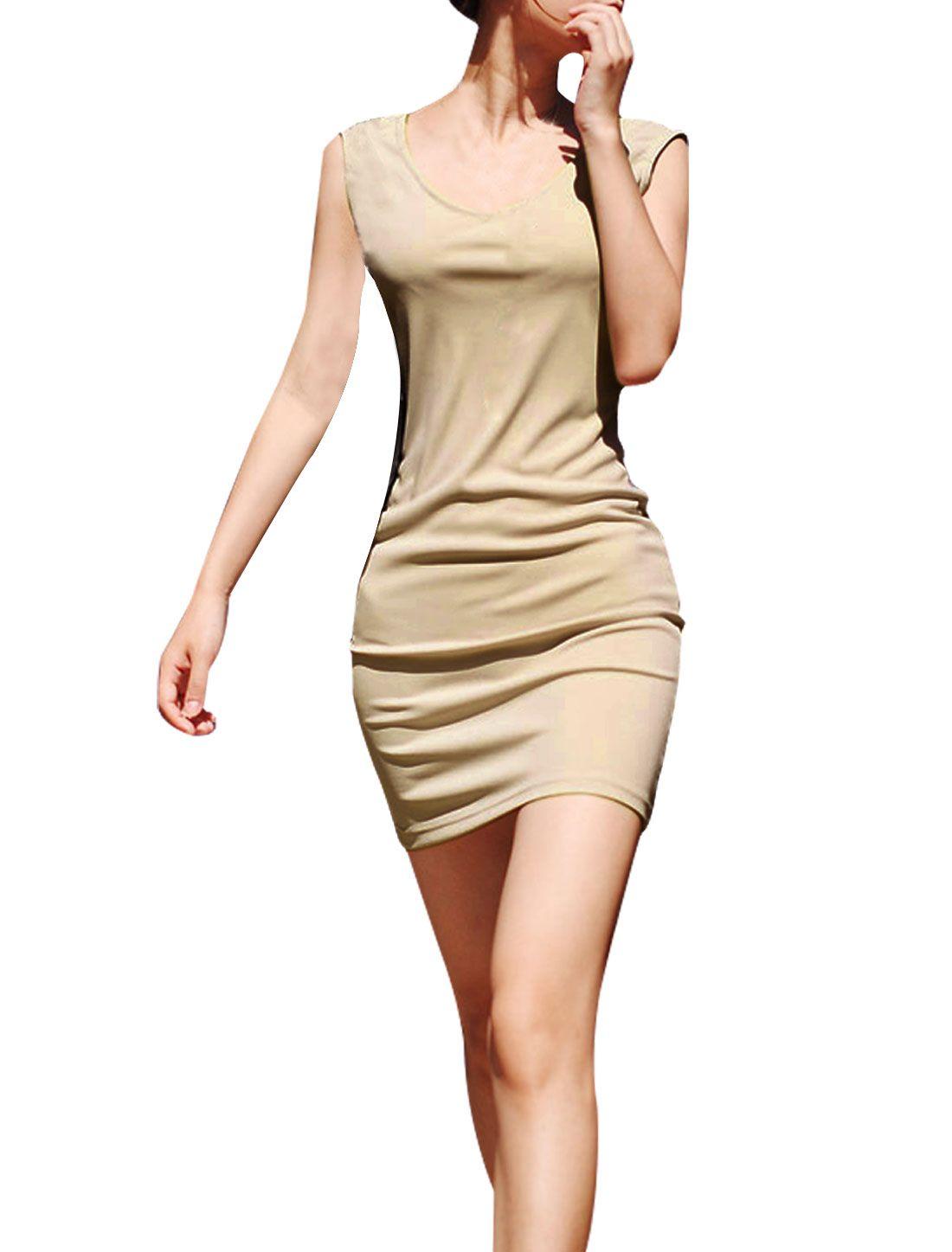 Allegra K Juniors Solid V Neck Mini Maxi Dress Beige (Size M / 9)