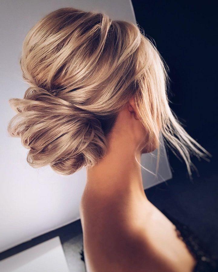 Trendy Hair Highlights Messy Bun Bridal Hairstyle