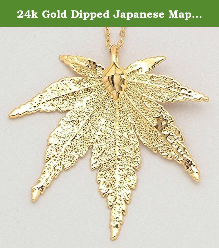 """24k Gold Dipped Japanese Maple Leaf with Gold-Plated Chain. 24k Gold Dipped Japanese Maple Leaf. 24k Gold Dipped 18"""" Gold-plated Chain. Real Natural Leaf 3 Inches x 3 Inches. Gift Boxed. Proudly Made in The USA."""