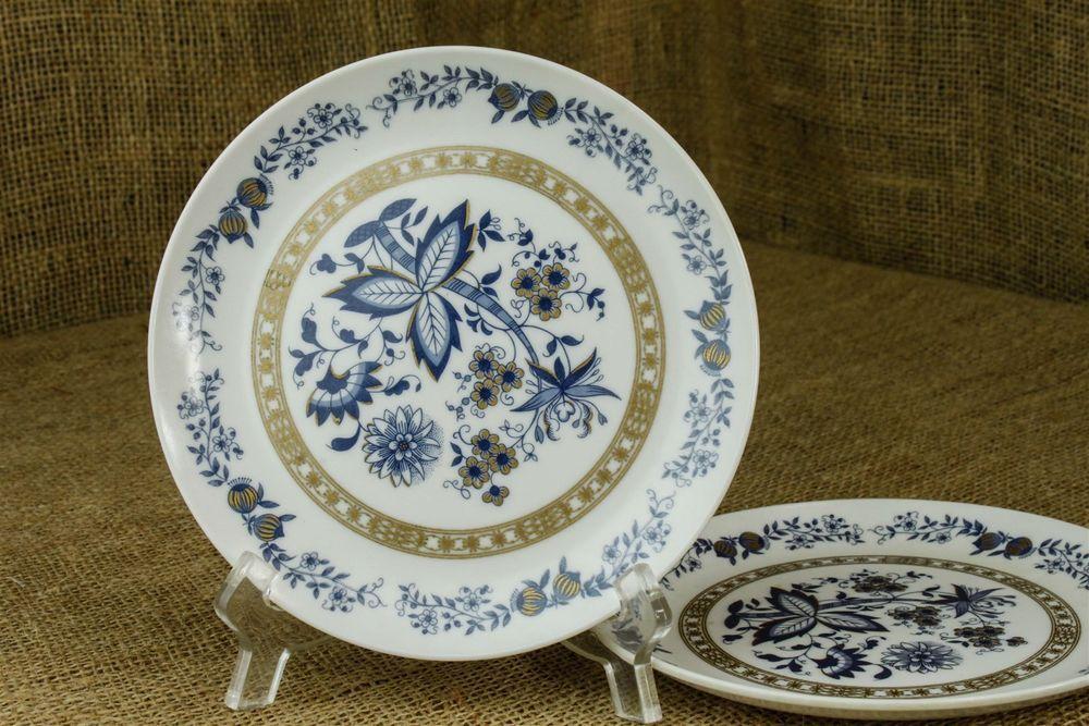 """Vintage Mar-Crest Melmac Set Two Bread/Dessert 6"""" Plates Blue Onion Gold USA BN in Home & Garden, Kitchen, Dining & Bar, Dinnerware & Serving Dishes   eBay"""