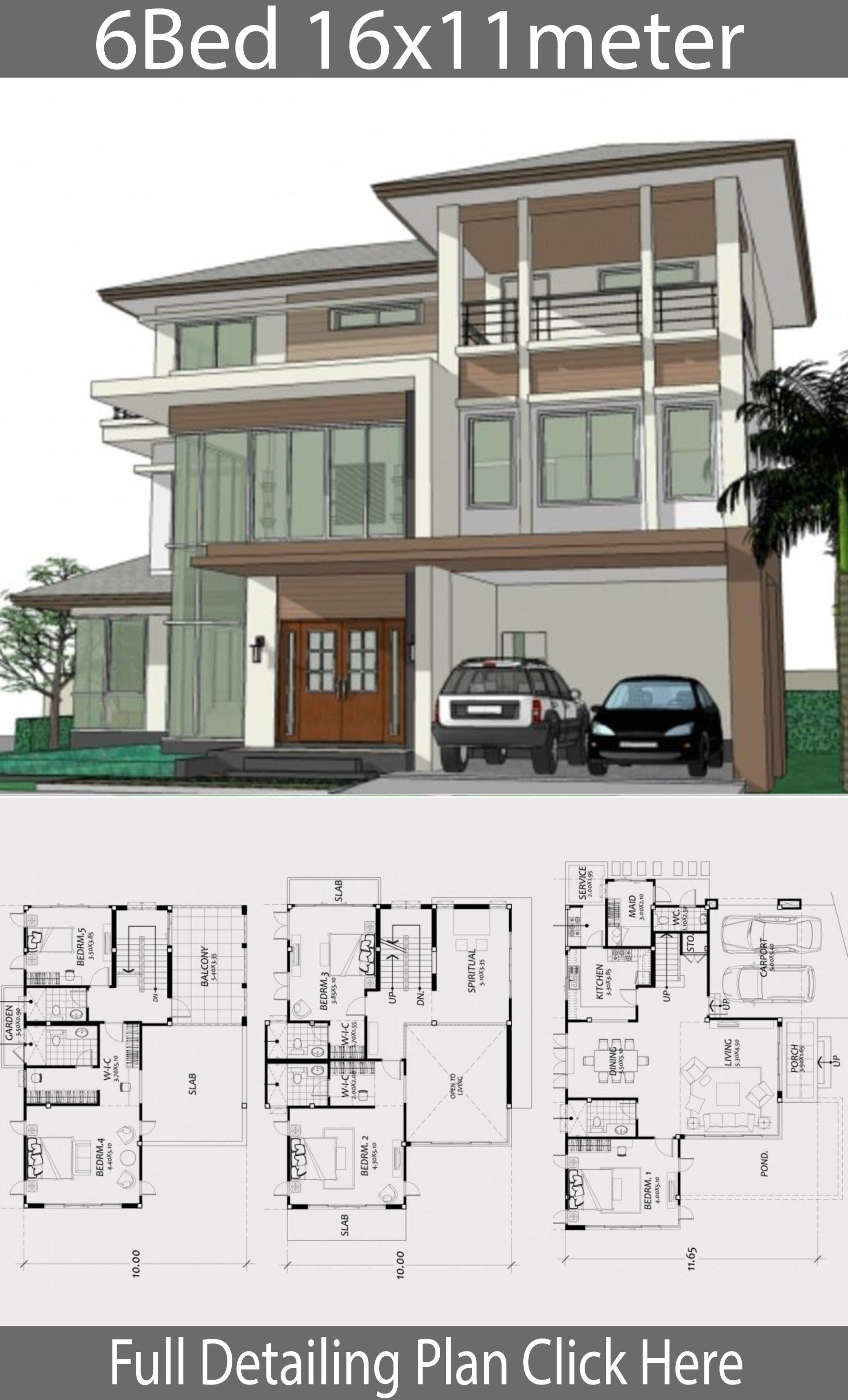 Home Design Plan 16x11m With 6 Bedrooms Home Ideas Modern Contemporary House Plans House Floor Design House Layout Plans