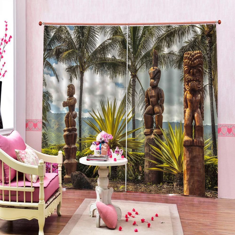 Custom Tropical Plants Decor Jungle Green scenery Polyester Fabric Shower For Living room Bedroom Bl