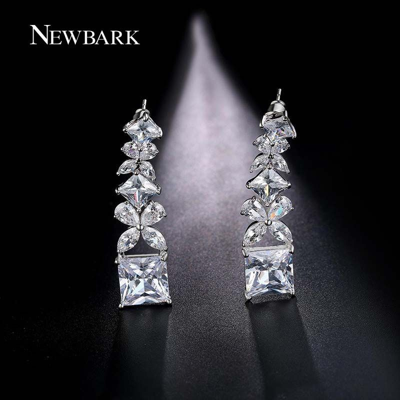 Butterfly Long Drop Earrings Sliver Color Big Cubic Zirconia Earring for  Women Elegant Bridal Jewelry Boucles e0e517315335