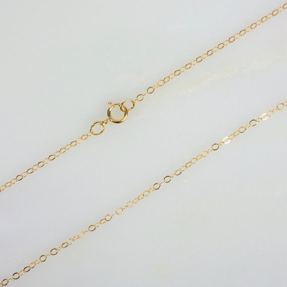14k Gold Filled Flat Cable Chain Necklace For Pendants 16 Etsy Cable Necklace Necklace 14k Gold Filled