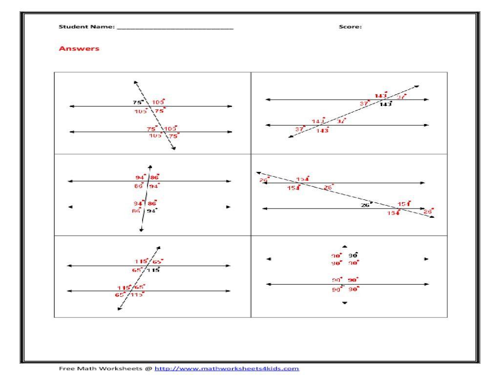 Angles In Transversal Worksheet Answer Key