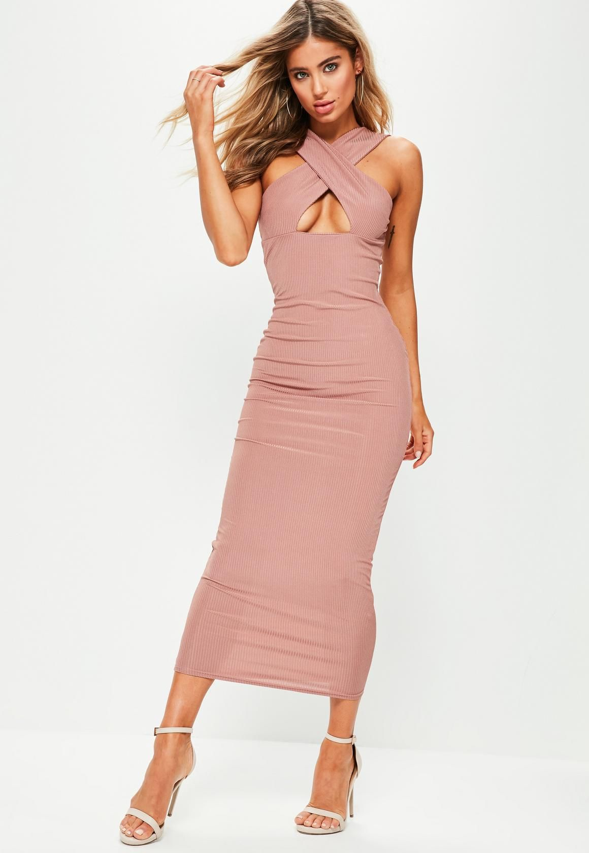 Missguided Pink Ribbed Cross Front Ankle Grazer Dress