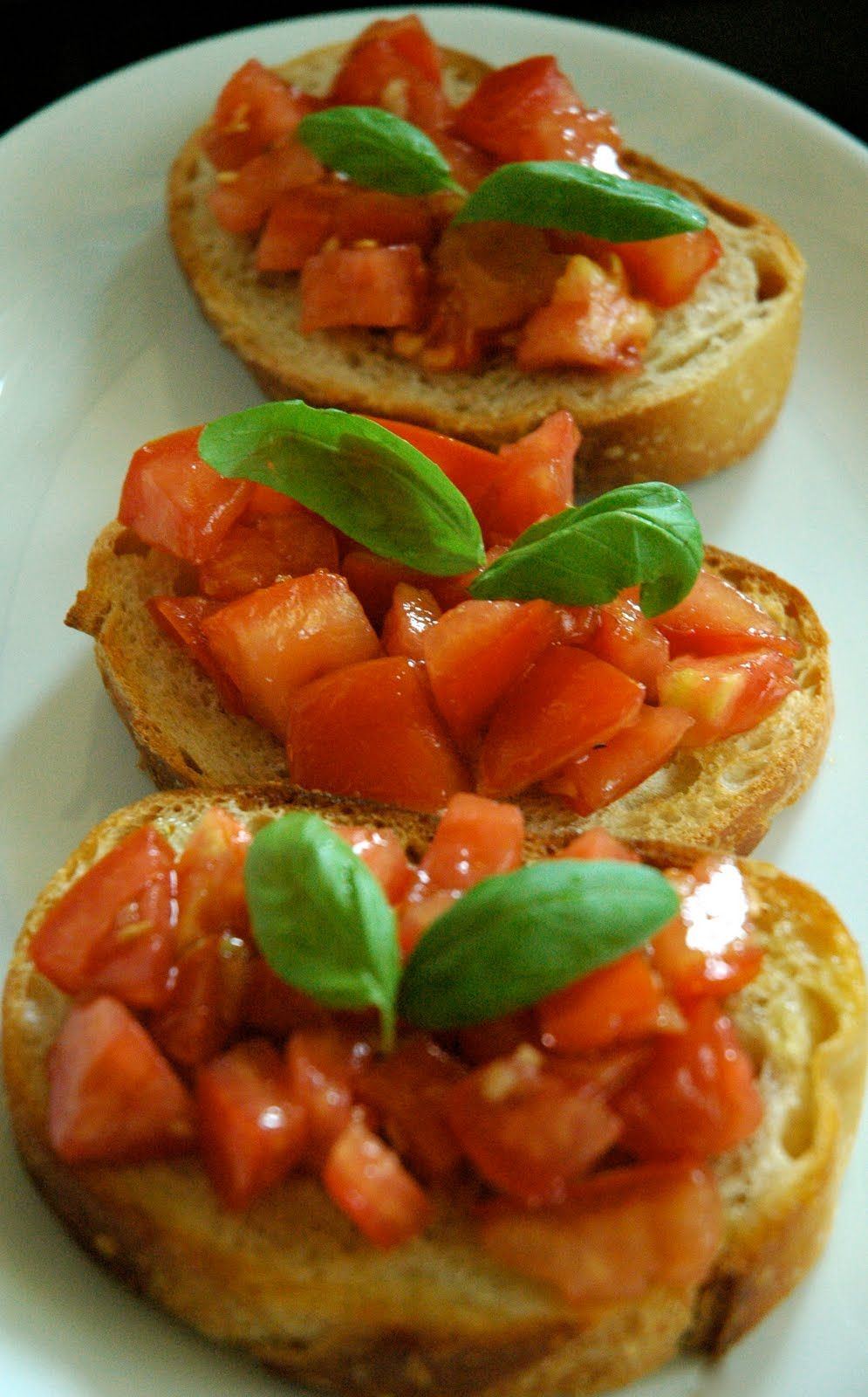 bruschetta with tomato and basil good appetizer i use campari tomatoes and a really good. Black Bedroom Furniture Sets. Home Design Ideas