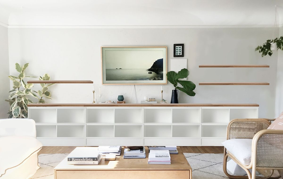 Why I M All About Low Storage As A Solution For Our Long Living Room Wall Coco Kelley Long Living Room Bookshelves In Living Room Wall Cabinets Living Room