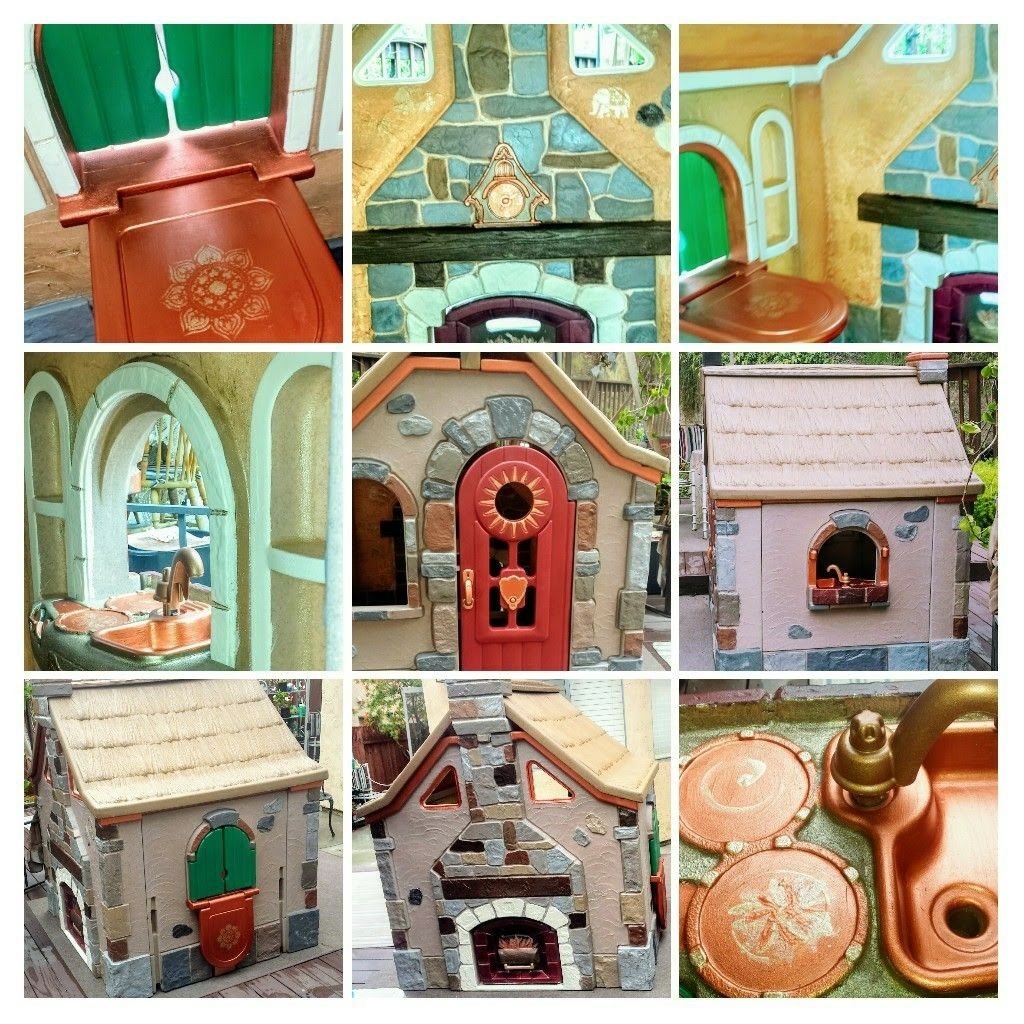 Plastic Playhouse Upcycle Step 2 Storybook Cottage Copper Accents And Stencilling Handpainted By Kristin Per Storybook Cottage Backyard Playset Play Houses
