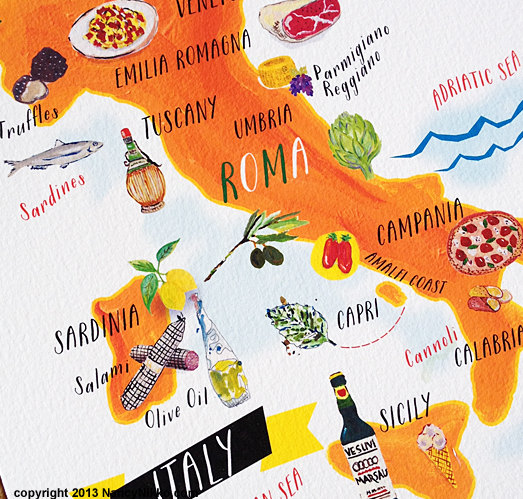 Italian Food Map Print Kitchen Art 5x7 By Nancynikkodesign On Etsy, $14.00