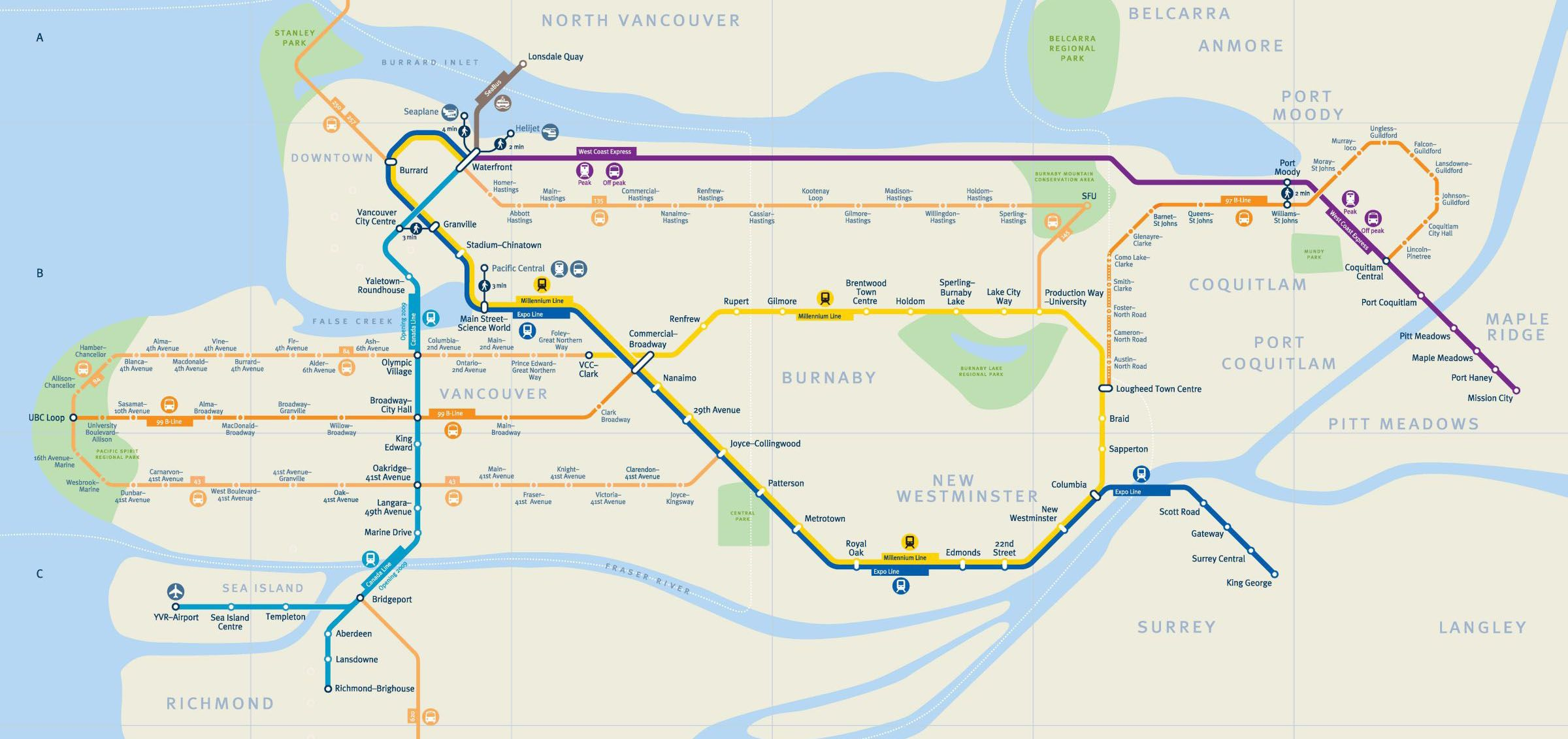 Bc Skytrain Map vancouver skytrain map | Travel | Vancouver map, Skytrain