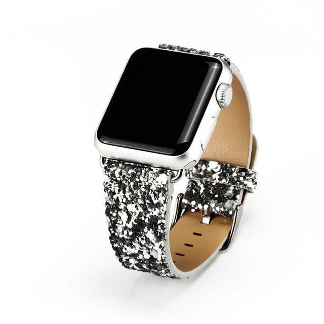 Apple Watch Band Luxury Sparkle Glitter Bling Leather Band - Silver / 38mm / 40mm