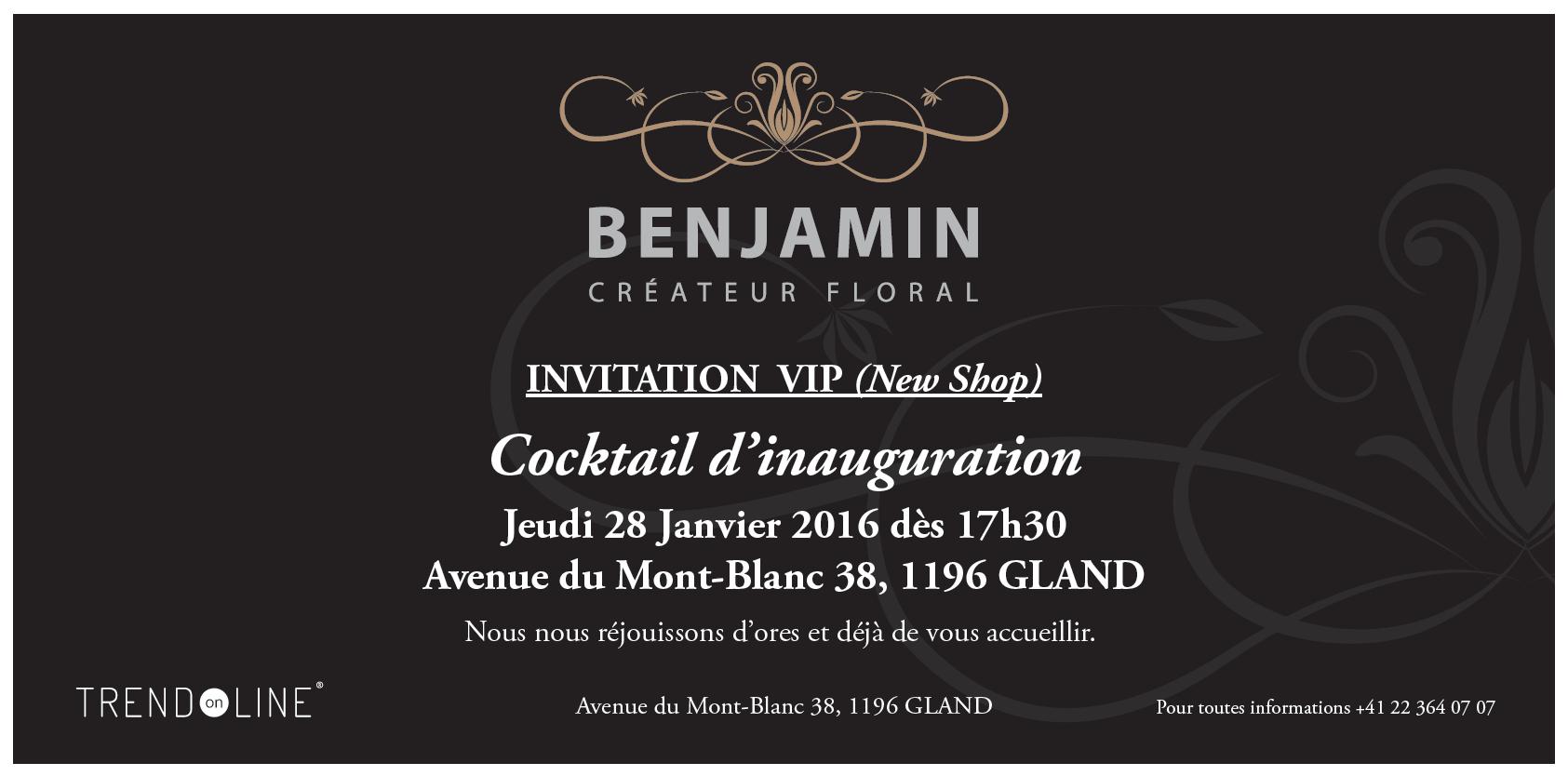 Benjamin Créateur Floral Vous Invite à L Inauguration De