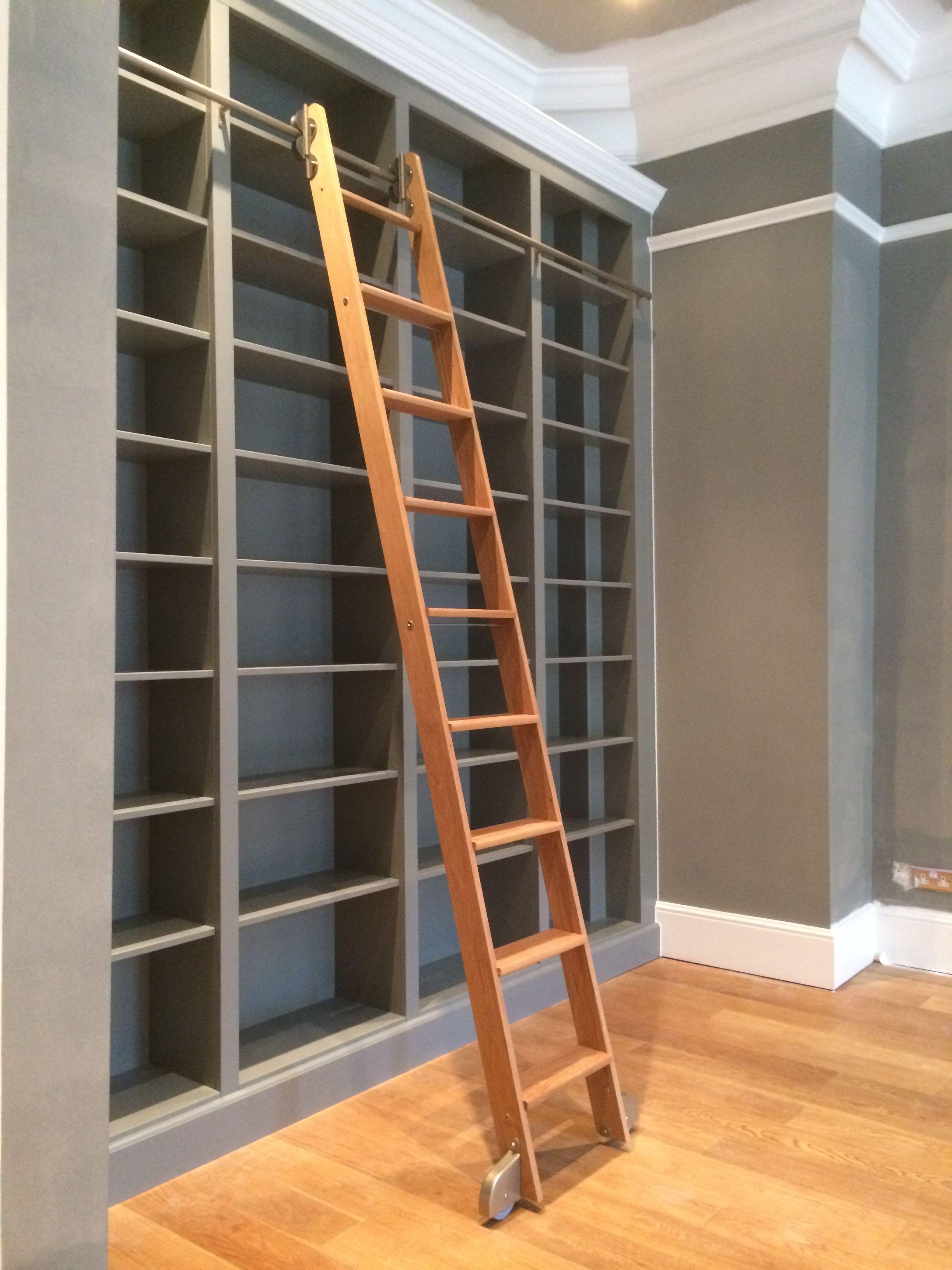 Large Bespoke Bookcase With A Sliding Oak Ladder Images Show