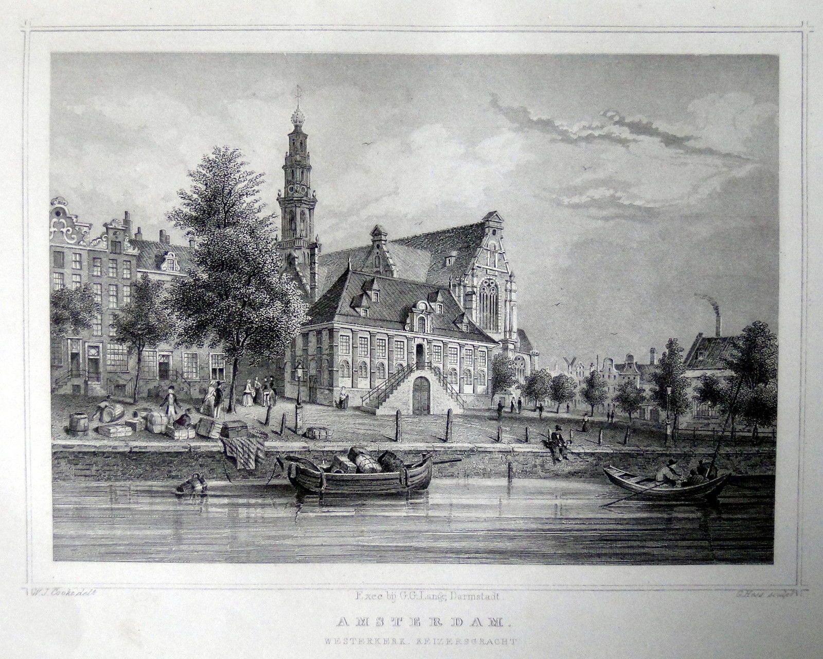 Amsterdam-Westerkerk Keizersgracht | Herkomst : J.L. Terwen - Het Koningrijk der Nederlanden, afm. 14 x 20 cm Staalgravure 1860