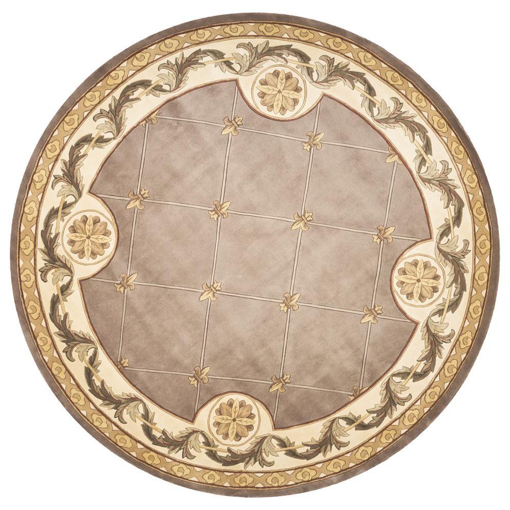 Kas Rugs Antique Taupe Brown Fleur De Lis 8 Ft X 8 Ft Round
