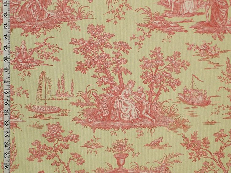 Pink green toile fabric french country from brick house for French toile fabric