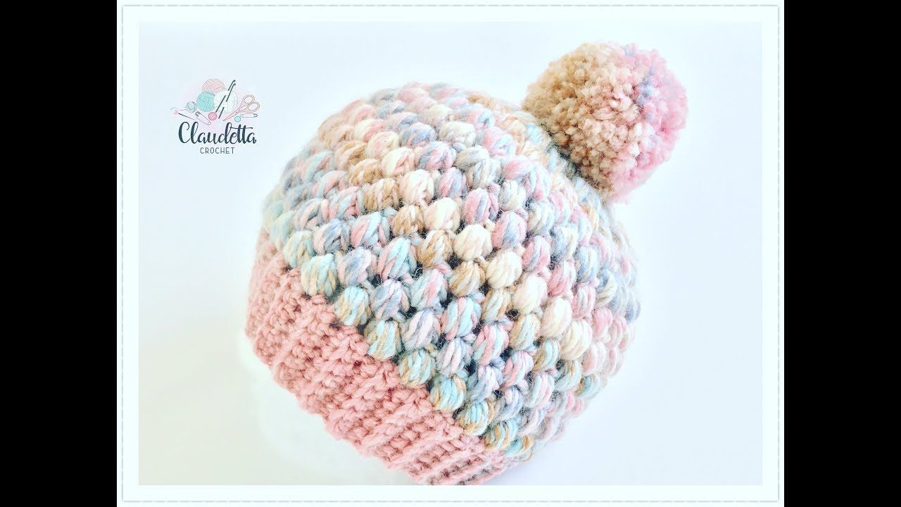 How to CROCHET easy Puff Stitch Hat / Beginner | bonito | Pinterest ...