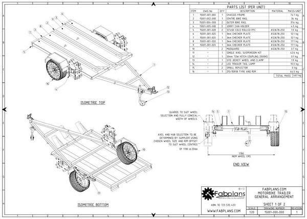general arrangement of motorbikee trailer plans fabplans