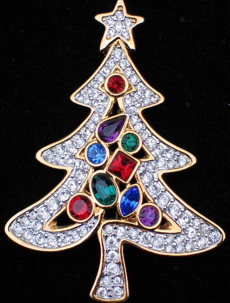 New Authentic Rare 2001 Retired Swarovski Christmas Tree Pin Brooch Signed  with the Swarovski Swan logo and the date 2001. - New Authentic Rare 2001 Retired Swarovski Christmas Tree Pin Brooch